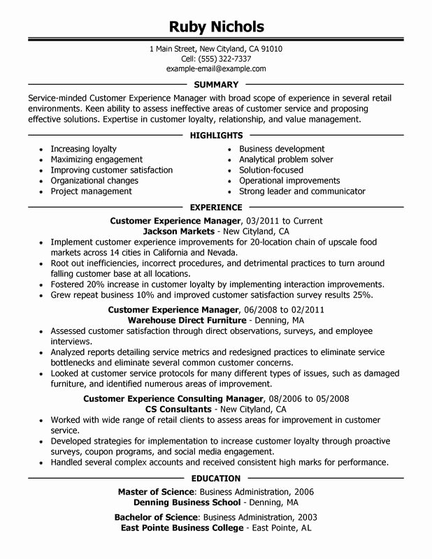 Customer Experience Manager Resume Examples – Free to Try