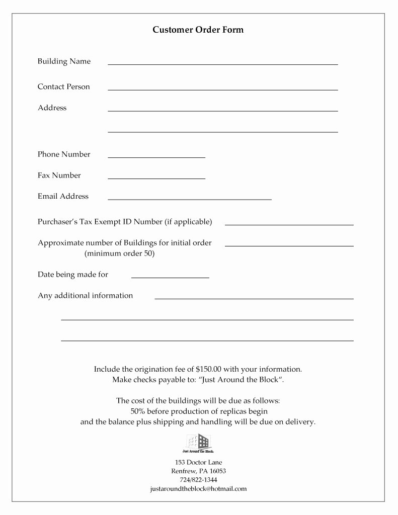 Customer Information and order form
