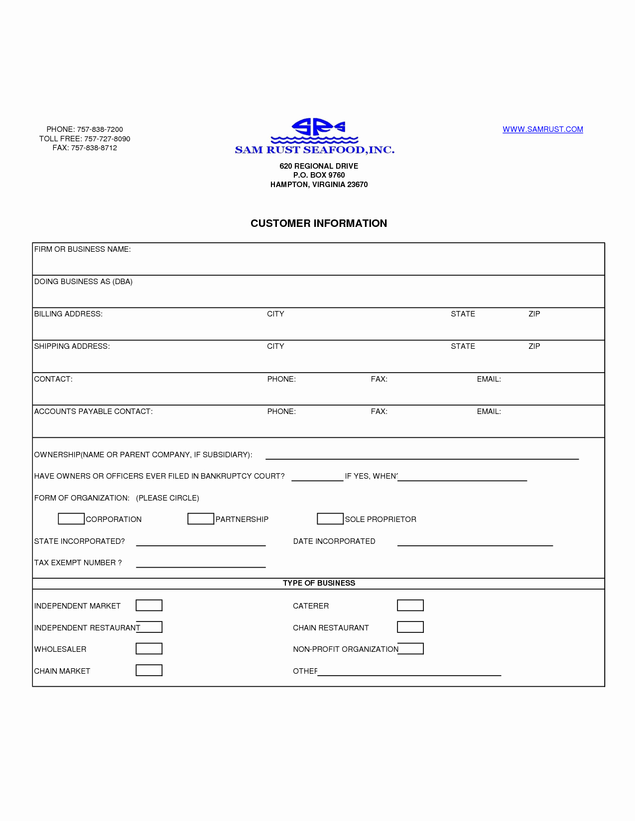 Customer Information form Template Microsoft Word asli