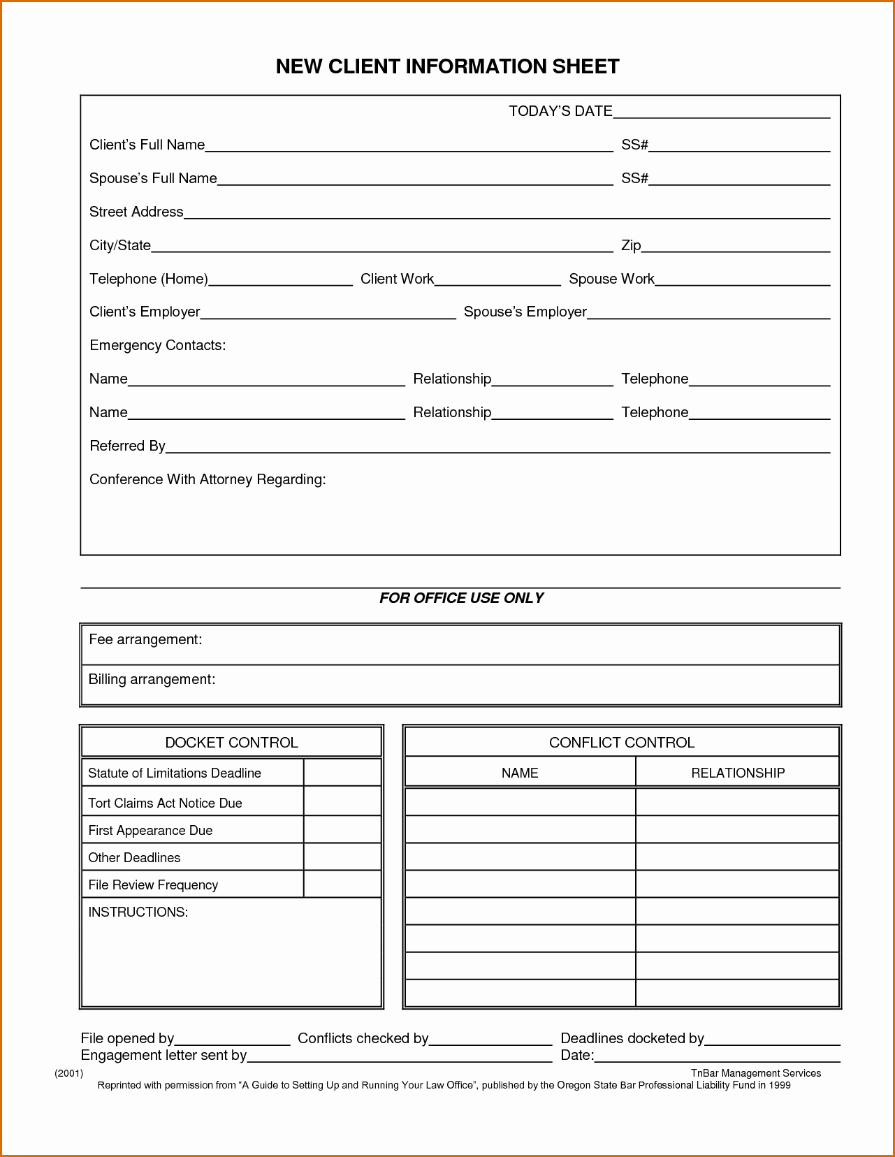 Customer Information Sheet Template