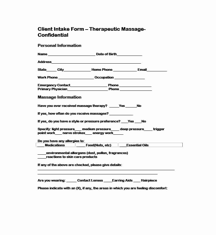 Customer Intake form Template Template Design Ideas