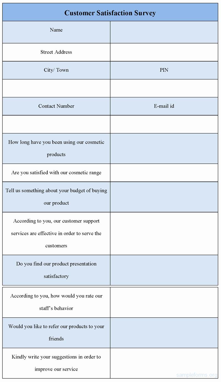 Customer Satisfaction Survey form Sample forms