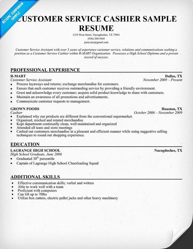 Customer Service Cashier Resume Examples