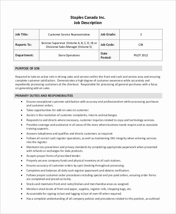 Customer Service Job Description Resume