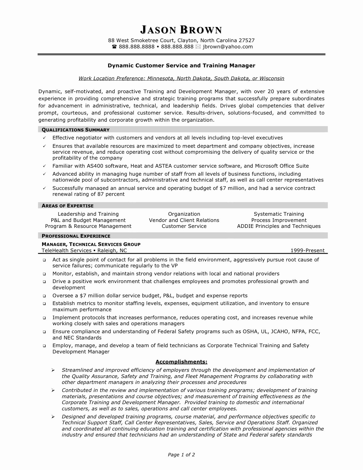 Customer Service Manager Resume Supervisor Goals and
