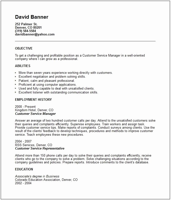 Customer Service Objective Resume Sample