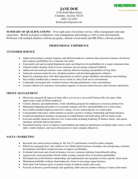 customer service qualifications resume