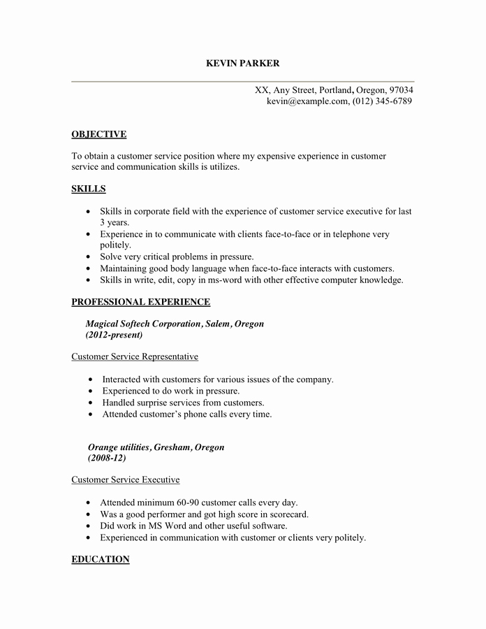 Customer Service Relations Resume