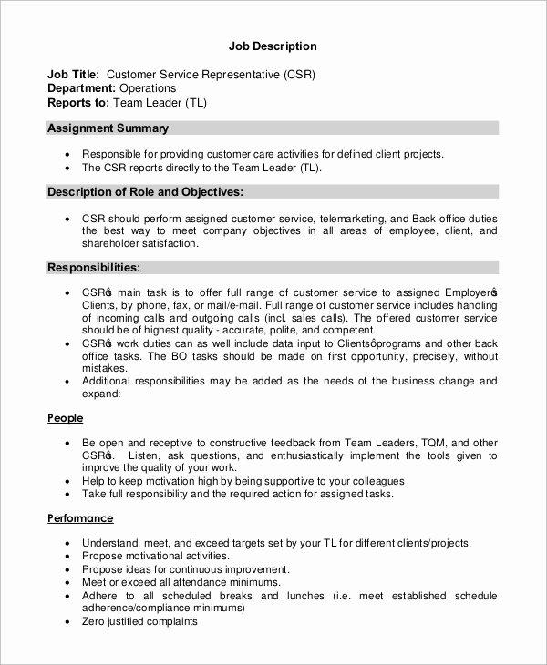 customer service representative job description customer service representative job description resume