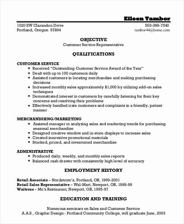 Customer Service Representative Resume 9 Free Sample