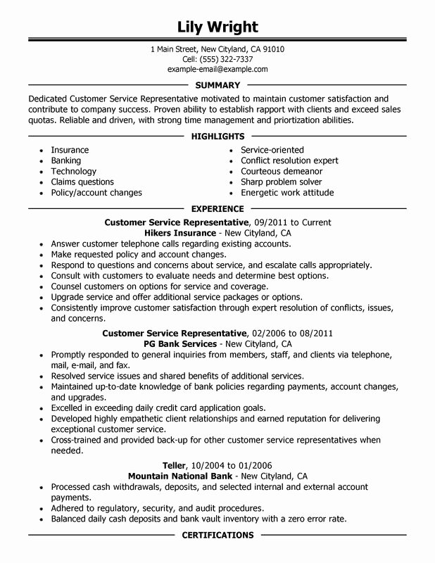 Customer Service Representative Resume Examples – Free to
