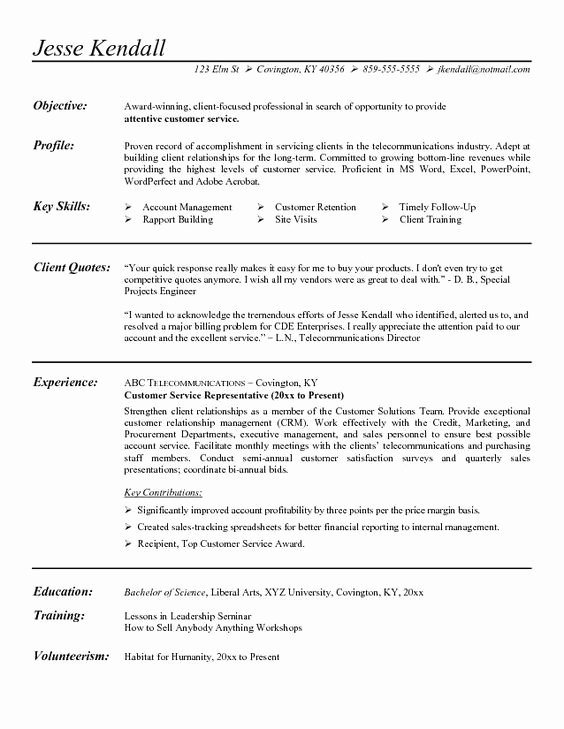 Customer Service Representative Resume Objective Examples