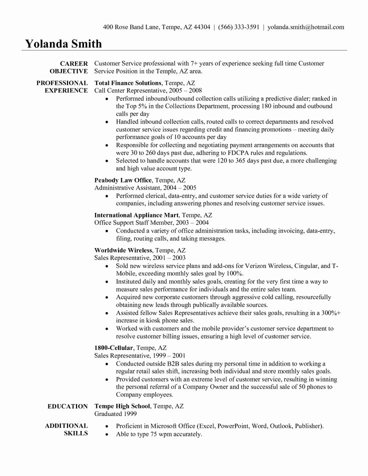 Customer Service Resume Objectives Examples Best Resume