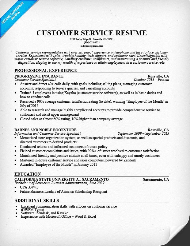 Customer Service Resume Sample Resume Panion