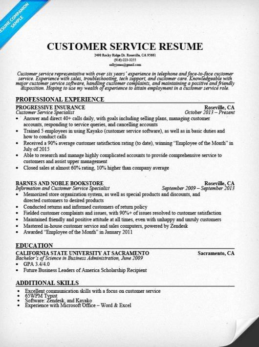 Customer Service Resume Sample Resume Panion