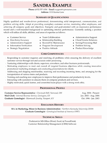 Customer Service Resume Sample Stonewall Services