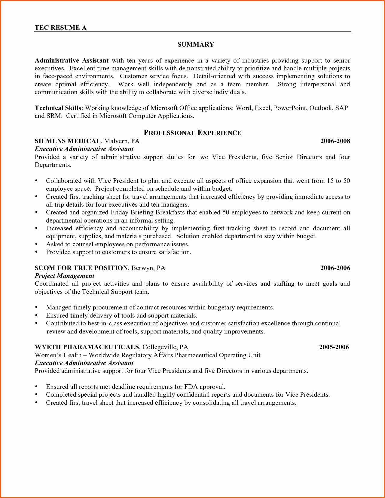 Customer Service Resume Summary event Planning Template