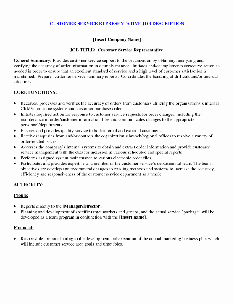 Customer Service Resumme Job Duties – Perfect Resume format