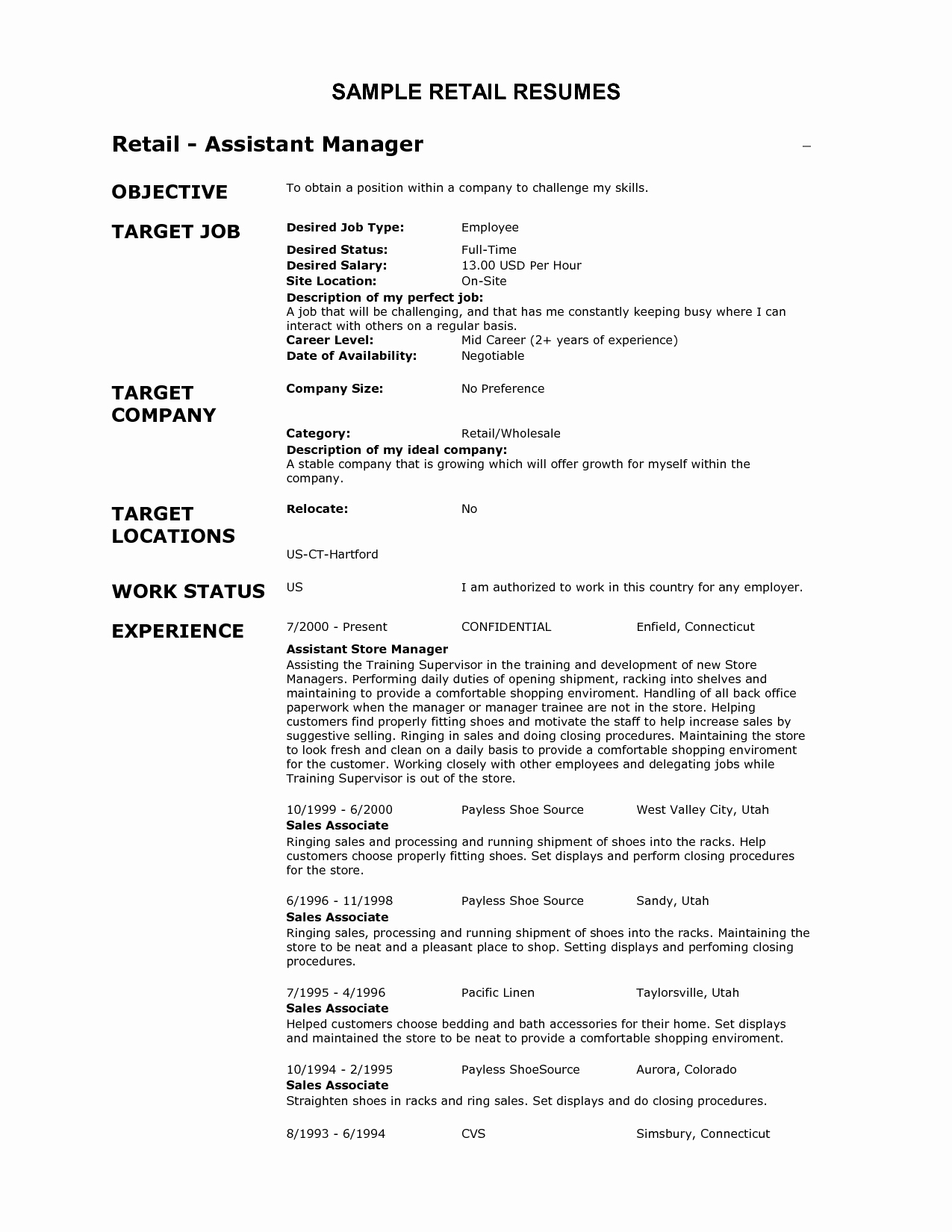 Customer Service Retail Job Description for Resume