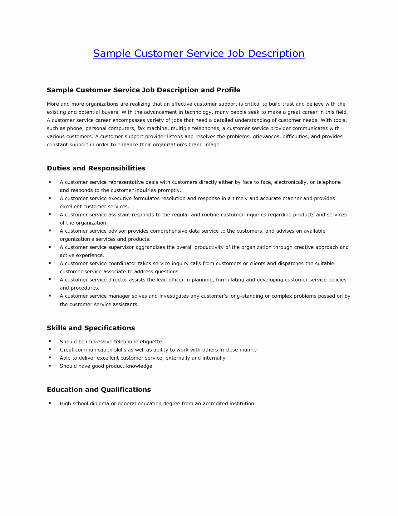 Customer Service Retail Job Description for Resume