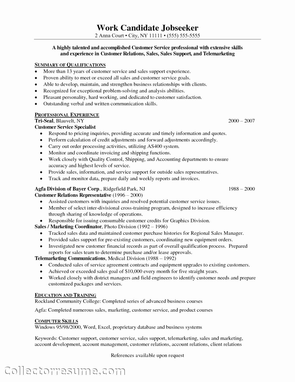 Customer Service Skills Resume Objective – Perfect Resume