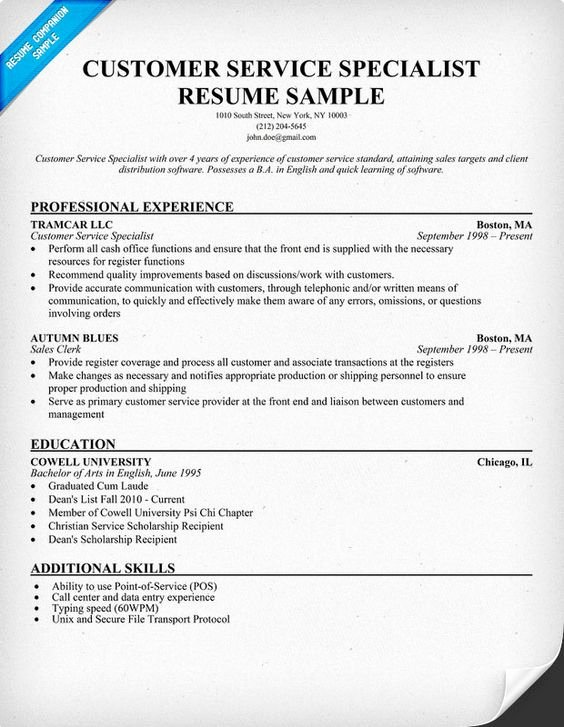Customer Service Specialist Resume Resume Panion
