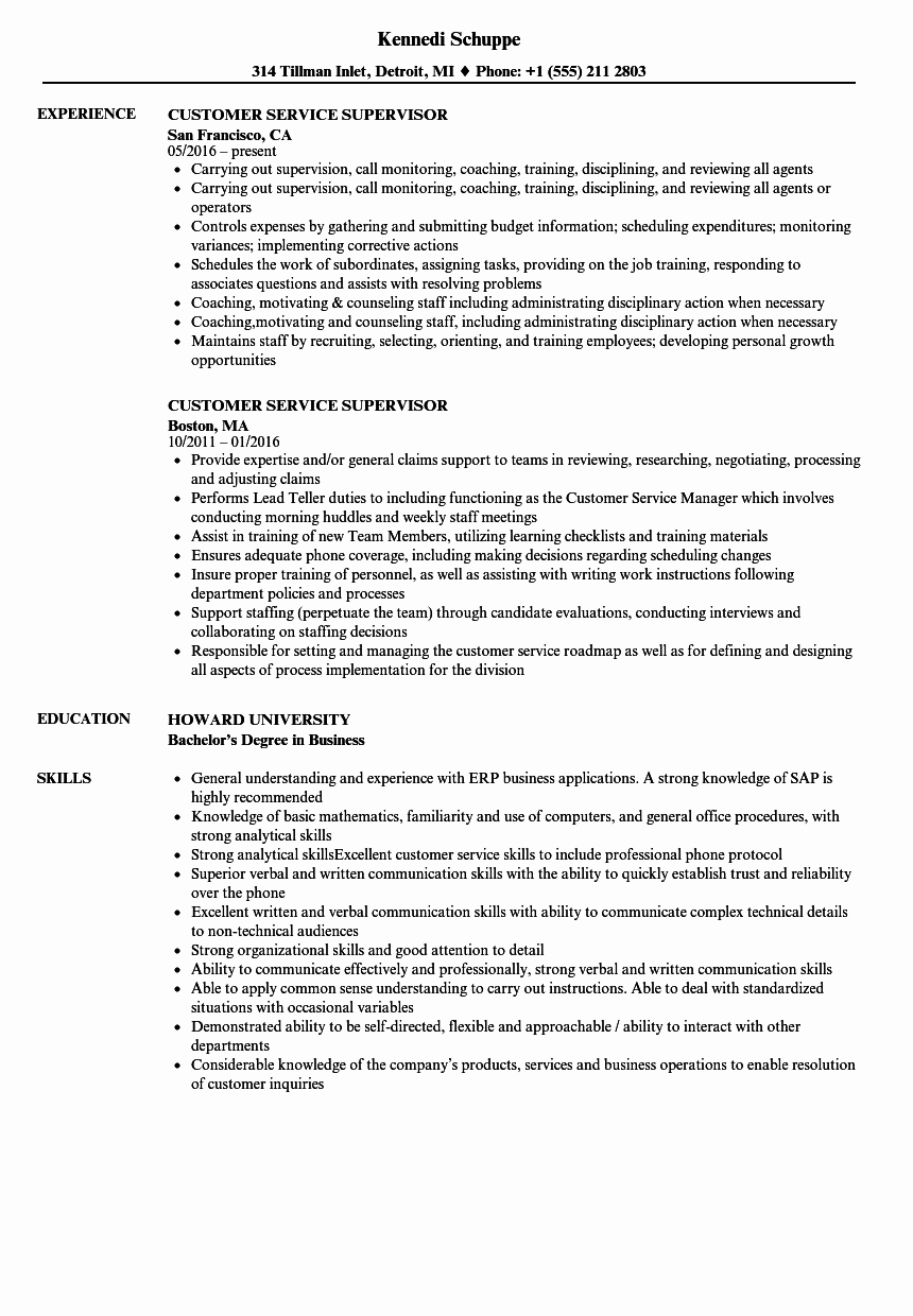 Customer Service Supervisor Resume Samples Choppix