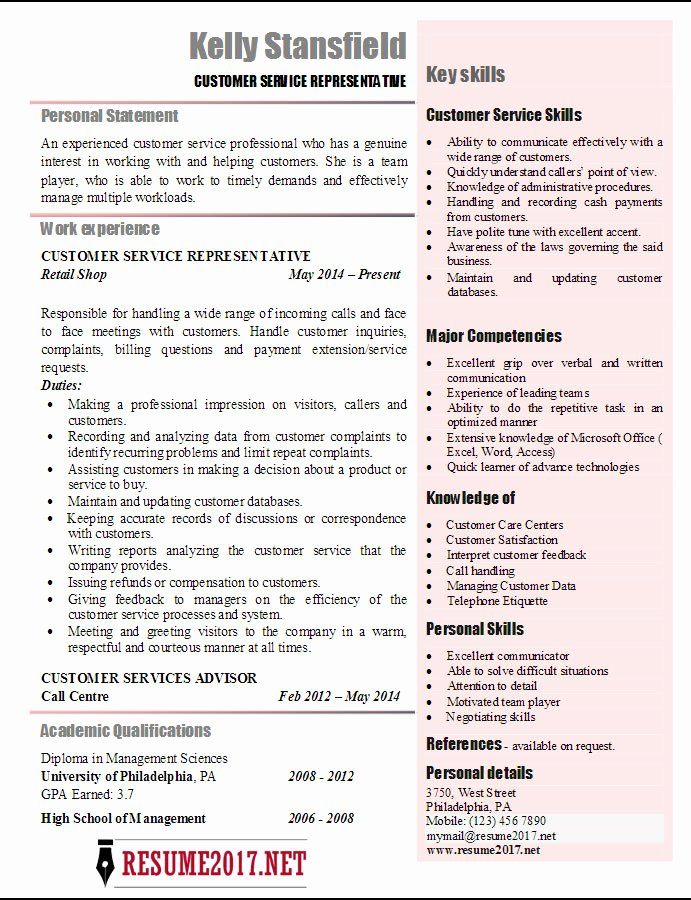 Customer Support Representative Resume Examples 2017