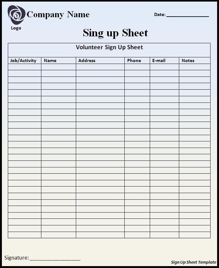 Customizable Printable Sign Up Sheets Templates