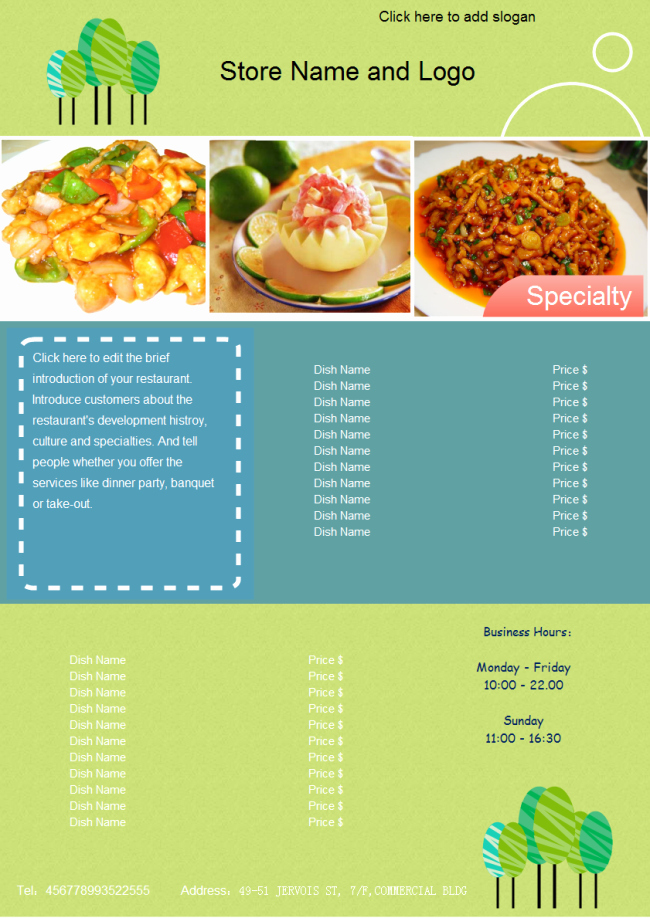 Customizable Restaurant Menu Templates Free Download