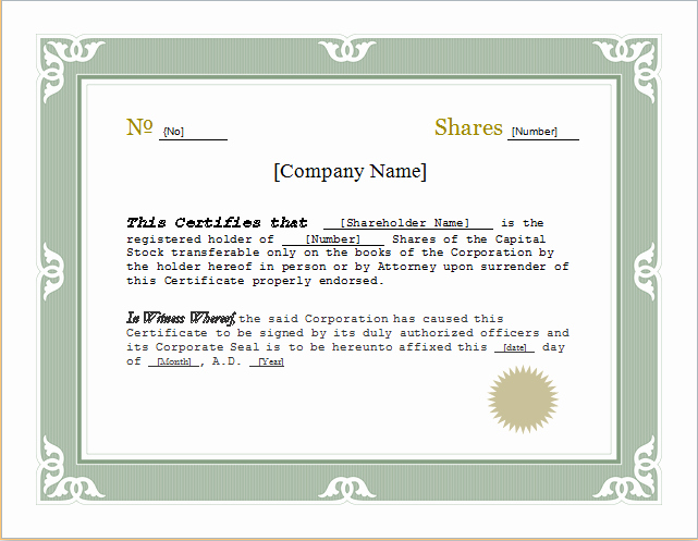 Customizable Stock Certificate Template for Word