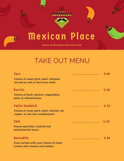 Customize 24 Take Out Menu Templates Online Canva