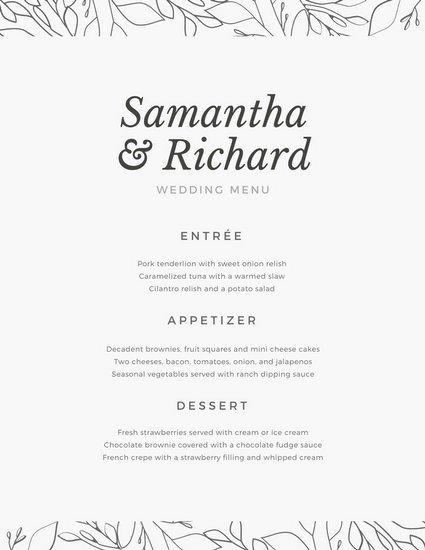 Customize 273 Wedding Menu Templates Online Canva