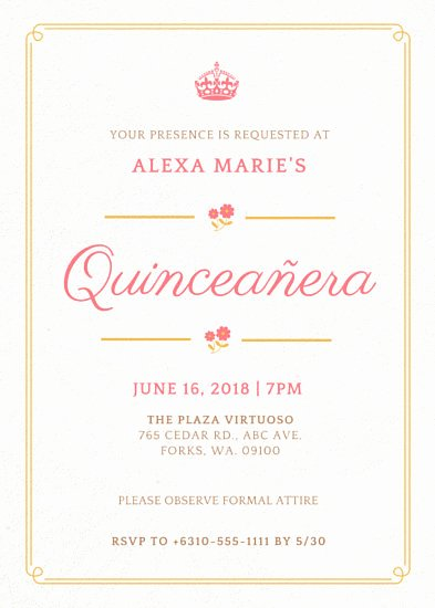 Customize 43 Quinceanera Invitation Templates Online Canva