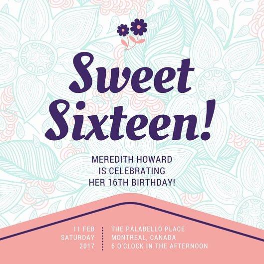 Customize 545 Sweet 16 Invitation Templates Online Canva