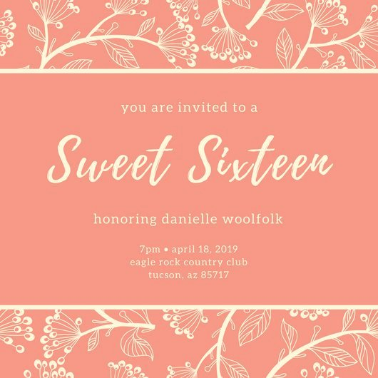 Customize 545 Sweet 16 Invitation Templates Online Canva