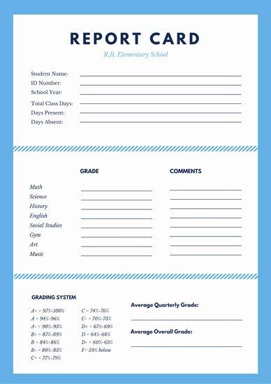 Customize 592 Elementary School Report Card Templates
