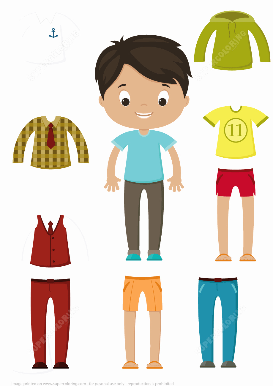 Cut Out Boy Paper Doll Clothes Set