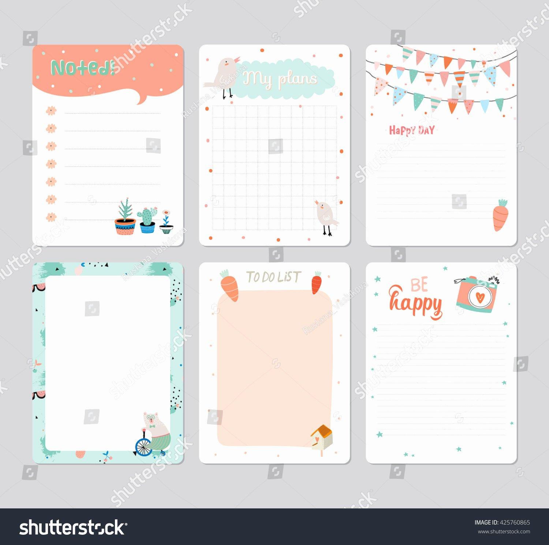 Cute Calendar Daily Planner Template 2016 Stock Vector