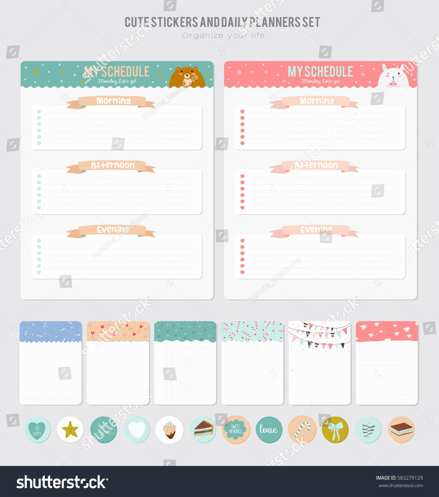 Cute Calendar Daily Planner Template Beautiful Stock