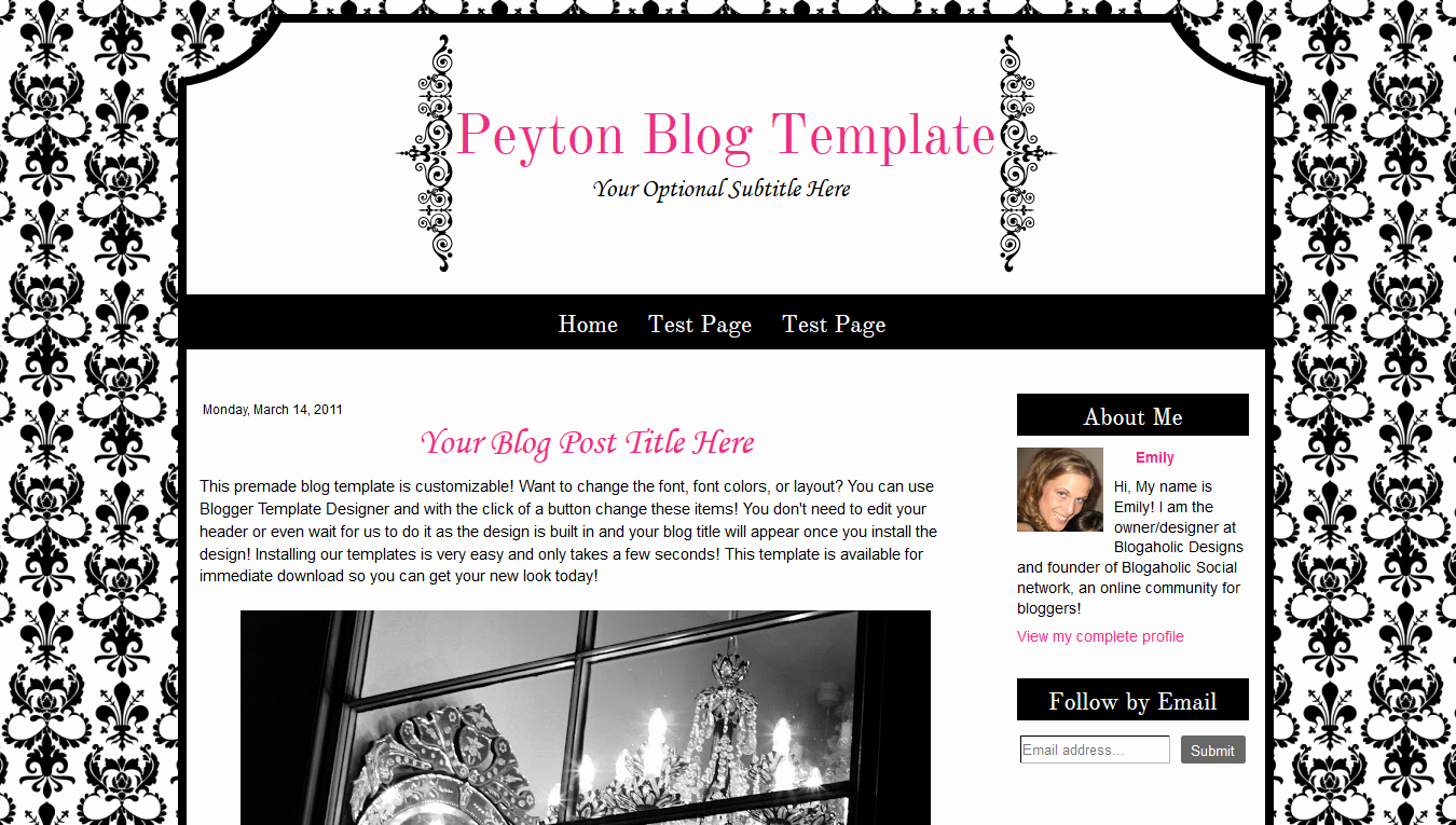 Cute Premade Blogger Template Damask Modern Pink Black