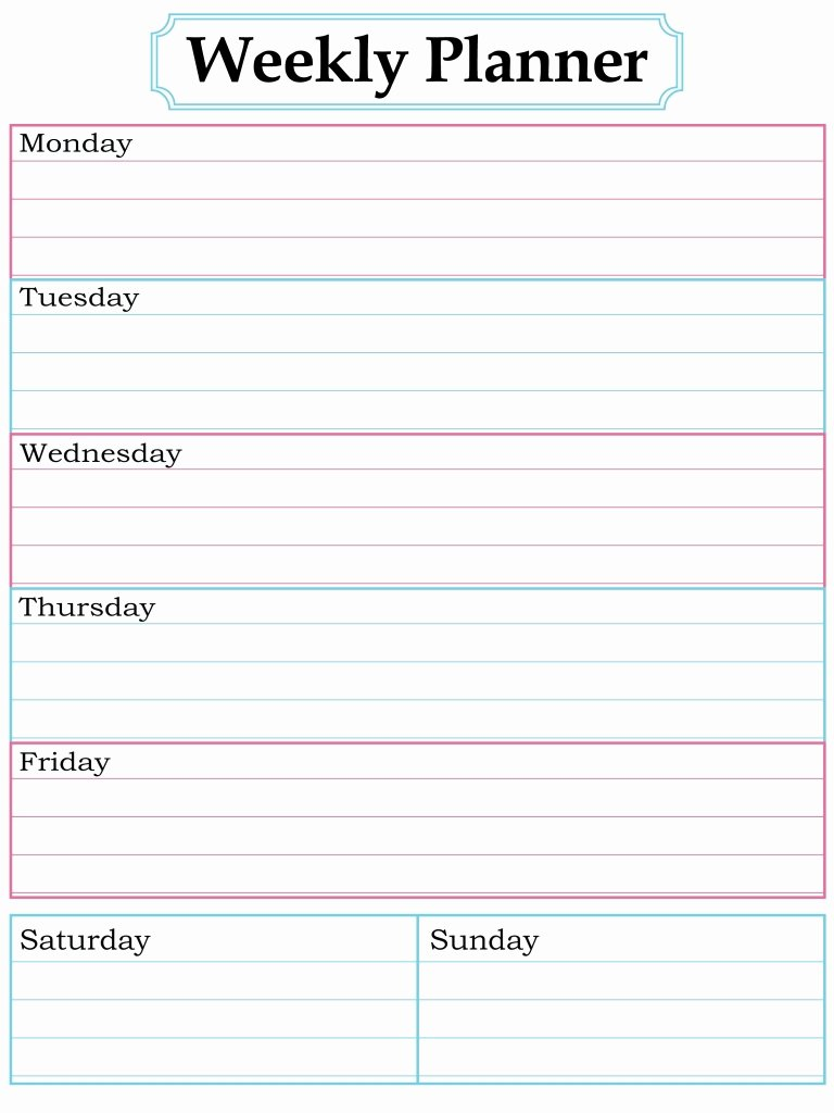 Cute Printable Weekly Calendar Template