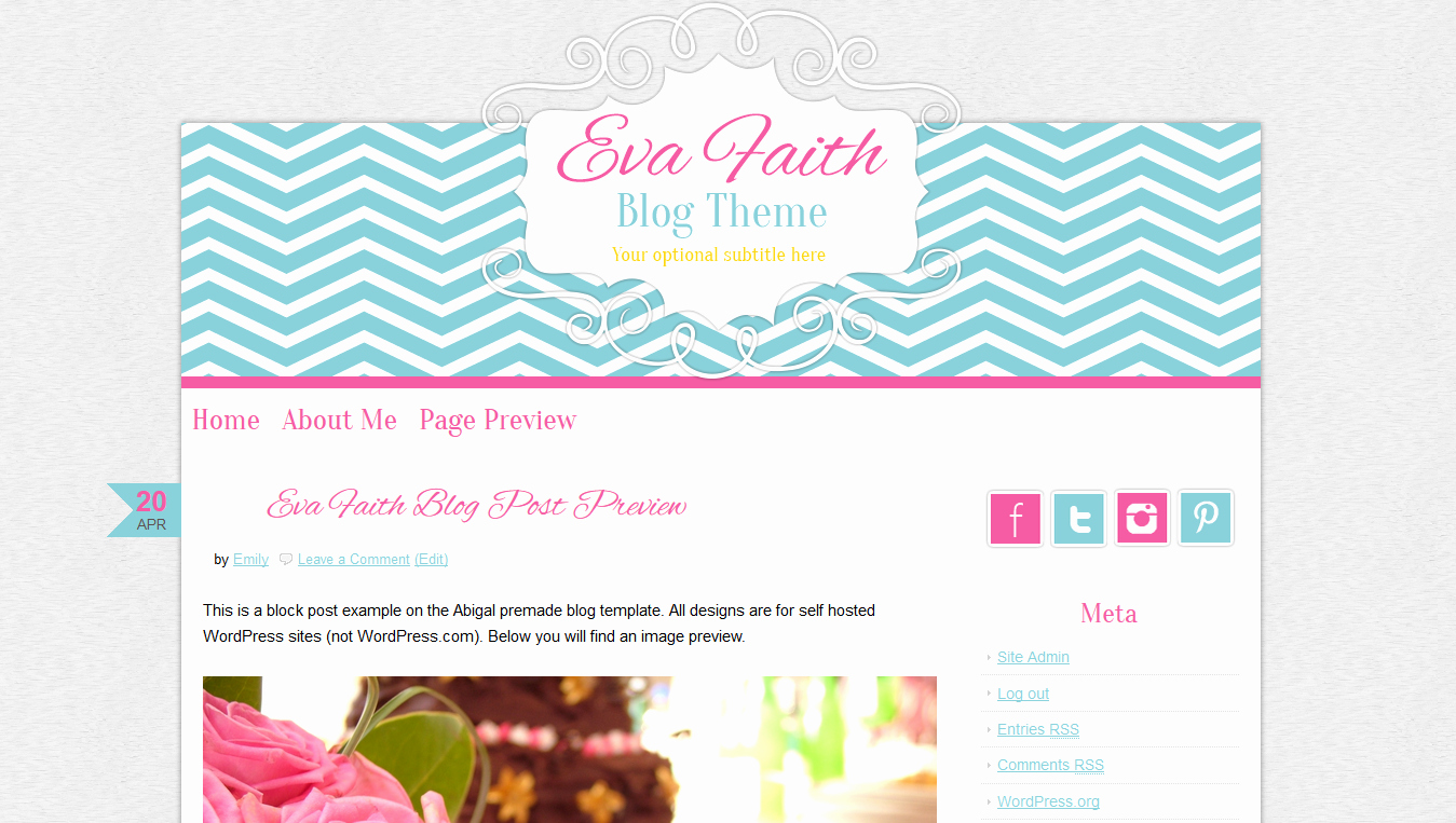 cute theme premade blog design pink chevron
