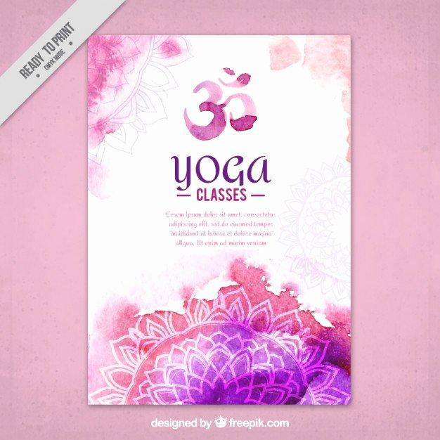 Cute Watercolor Yoga Flyer with Mandalas Vector