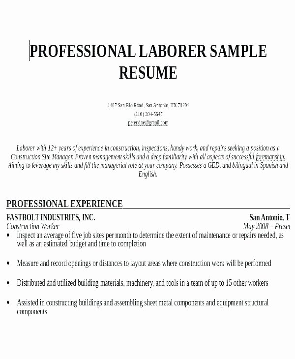 Cv Example for Construction Worker Uk Resume Template
