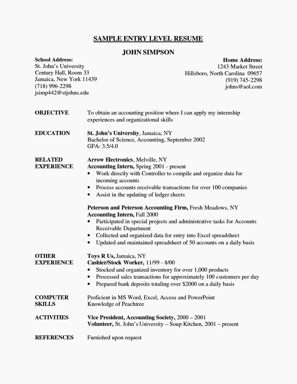 Cv format for Entry Level Job Resume Template