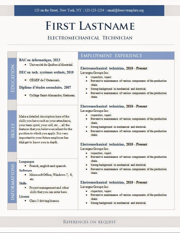 Cv format Template Curriculum Vitae Resume Template 2016
