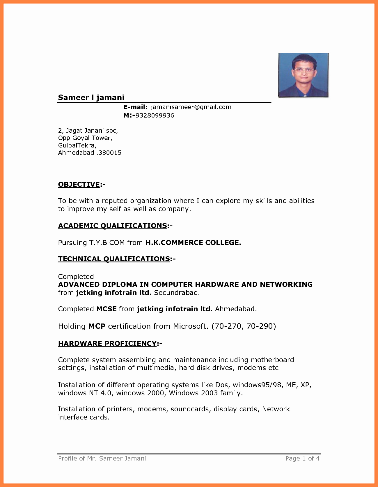 Cv format with In Ms Word Resume Free Microsoft Word