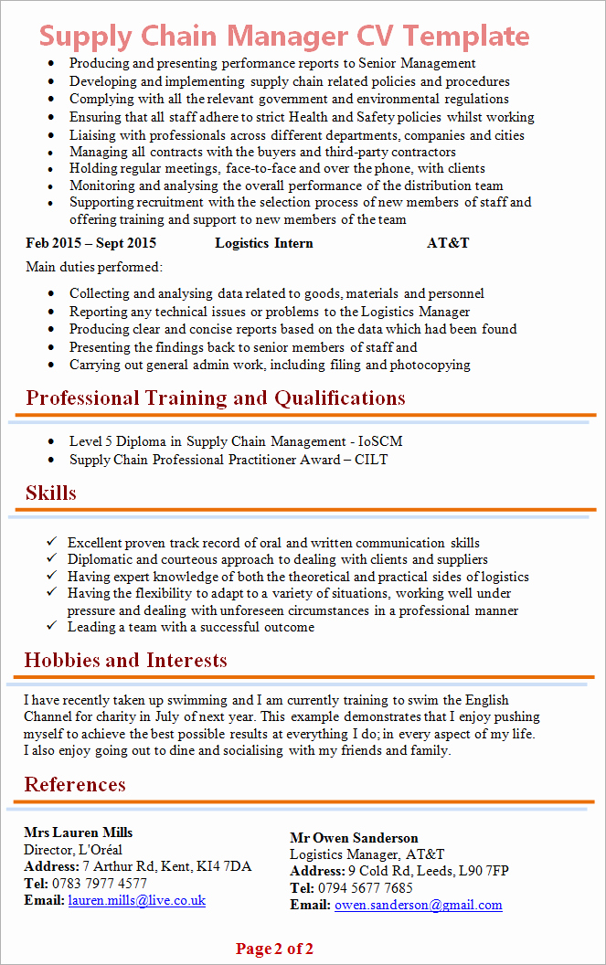 Cv Of Supply Chain Professional