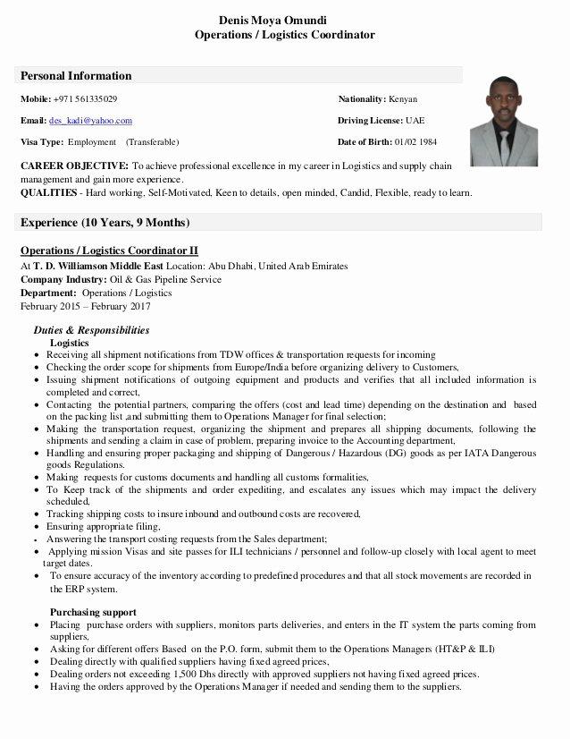Cv Operations & Logistics Coordinator 27 01 2017 Pdf